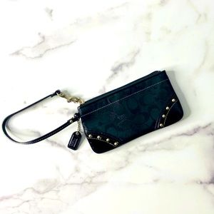 Coach Signature Patent Leather Studded Wristlet